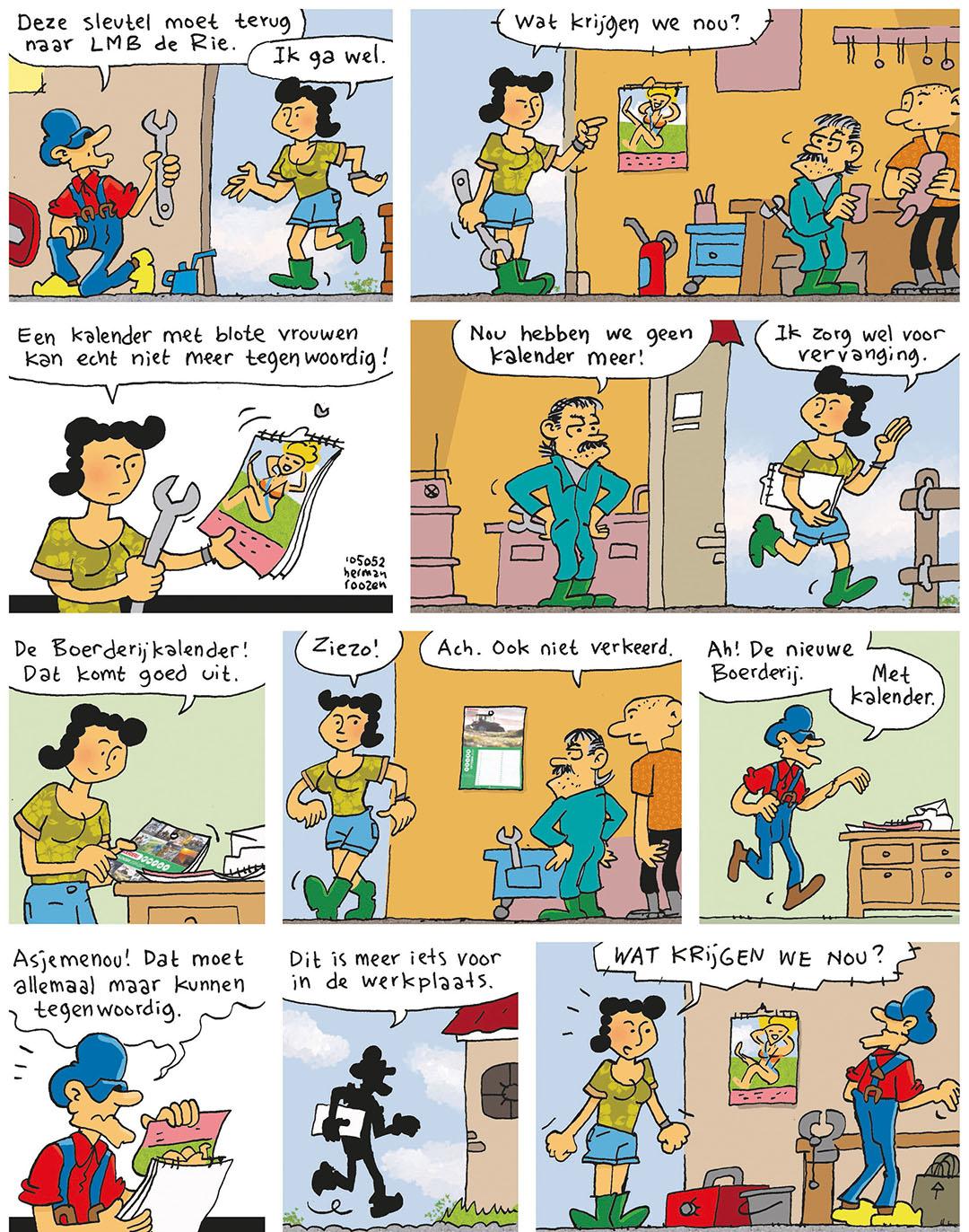 Strip: Opa weet wel raad met kalender blote vrouwen