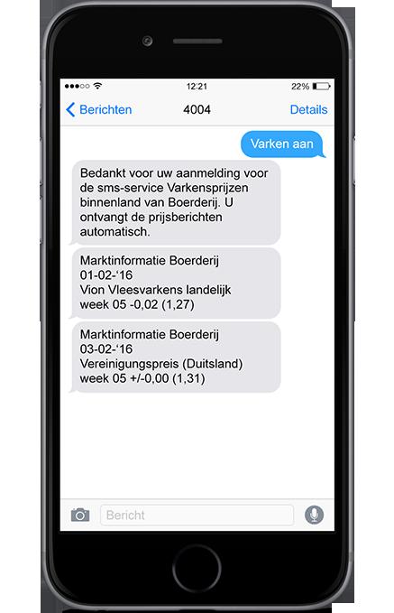 SMS varkensprijzen binnenland