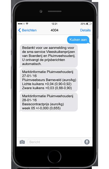 SMS vleeskuikenprijzen