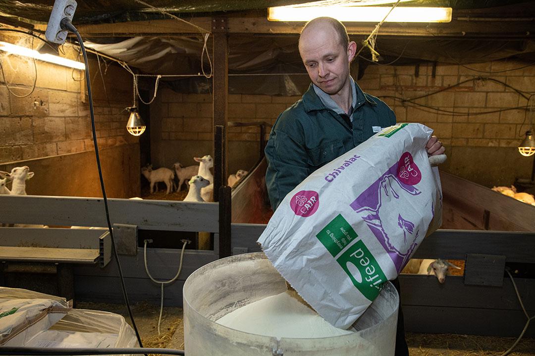 Patrick bezig met kunstmelk maken voor de 400 lammeren op het bedrijf.