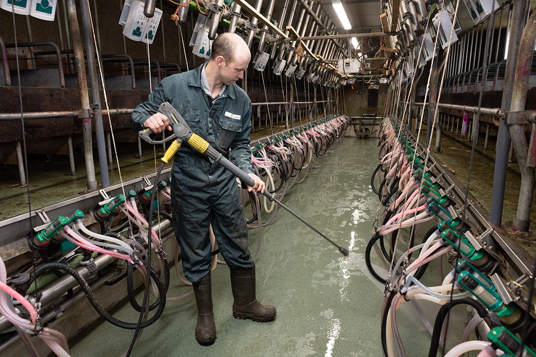 Inclusief schoonmaken van de melkstal kost melken per keer ruim 3 uur. Daarom zijn er melksters in dienst om elkaar af te kunnen wisselen.