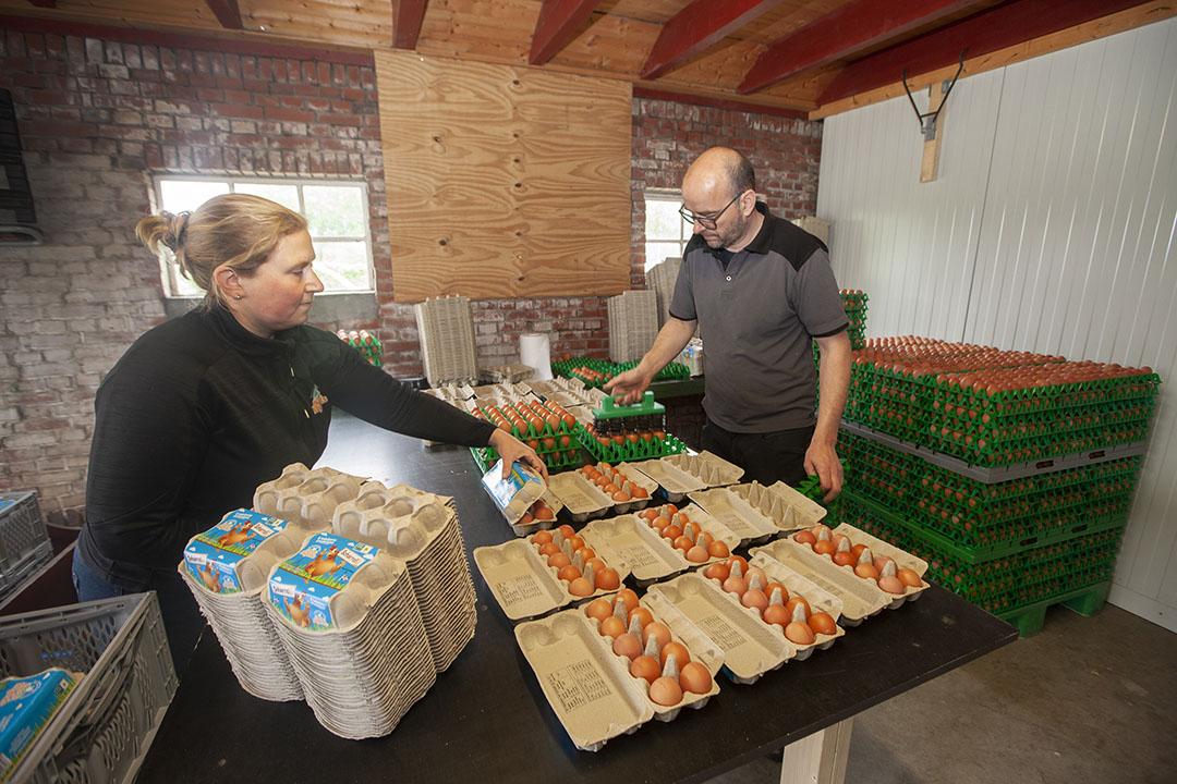 Harry en Suzanne Migchels pakken de eieren voor de eigen verkoop nu nog handmatig in. Binnenkort is dat verleden tijd. Voor de bouwvak hopen ze hun nieuwe inpakmachine in gebruik te nemen.