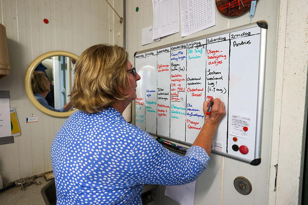 Janny maakt de weekplanning. Op het whiteboard schrijft ze wie welke taken oppakt. - Foto: Bert Jansen